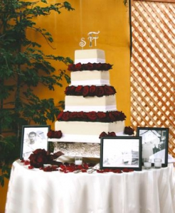 Tiered Squares with Roses