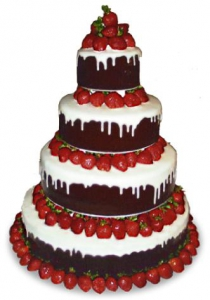 Tiered Strawberry Fudge Wedding